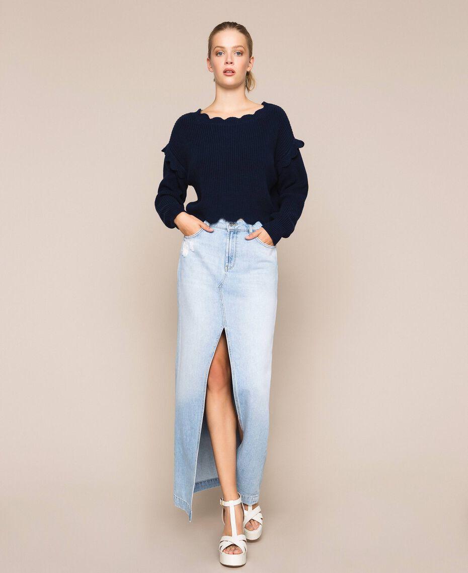 Jupe longue en jean Bleu Denim Femme 201MP2282-01