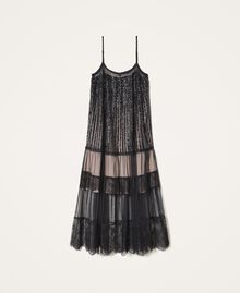 Full-length tulle and lace dress with sequins Black Woman 202TT2250-0S