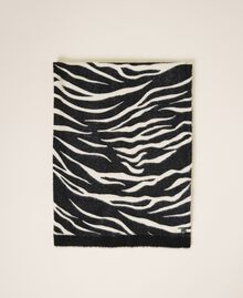 Animal print scarf Black / Cream White Zebra Print Woman 202MA4333-01