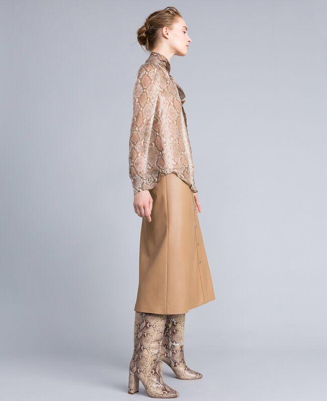 Camicia in chiffon di seta animalier Stampa Camel Snake Donna PA829D-03
