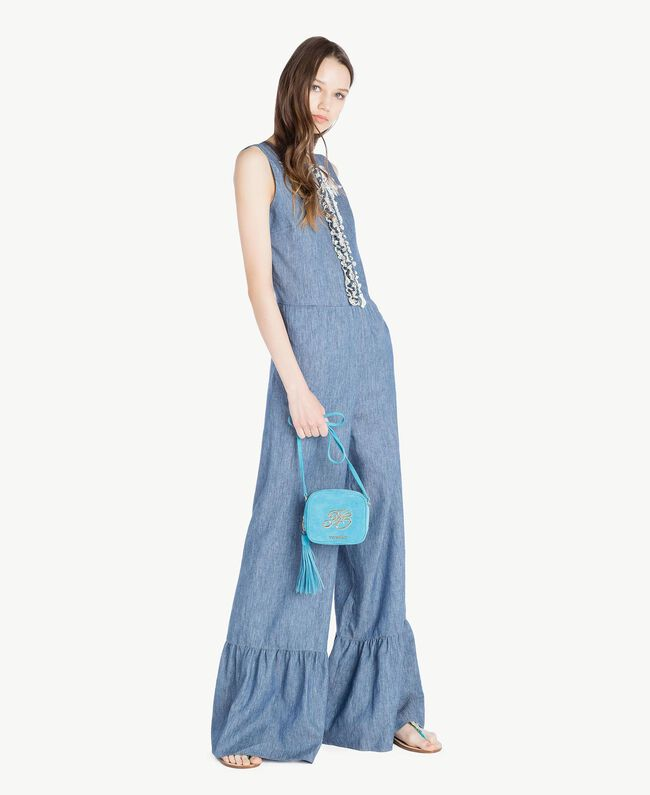 TWINSET Mini logo clutch bag Turquoise Woman OS8TEB-05