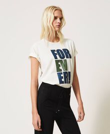 """T-shirt with glitter print """"Forever Mid Blue"""" / """"Off White"""" Floral Print Woman 202MP241B-02"""