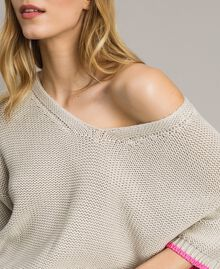 """V-neck jumper with contrast trims """"Milkway"""" Beige Woman 191LL37NN-04"""