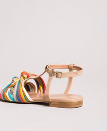 "Multicolour leather sandals ""Nude"" Beige Woman 191TCT09E-03"