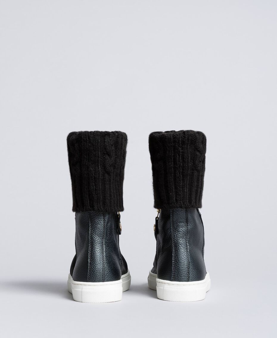 Leather and knit boot sneakers Black Child HA88B3-03