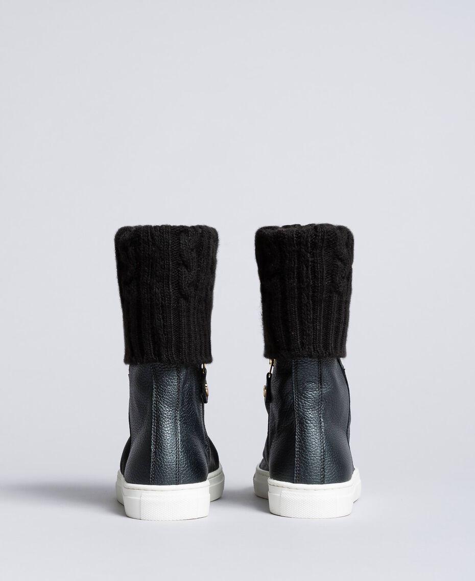 Sneakerboots aus Leder und Strick Schwarz Kind HA88B3-03