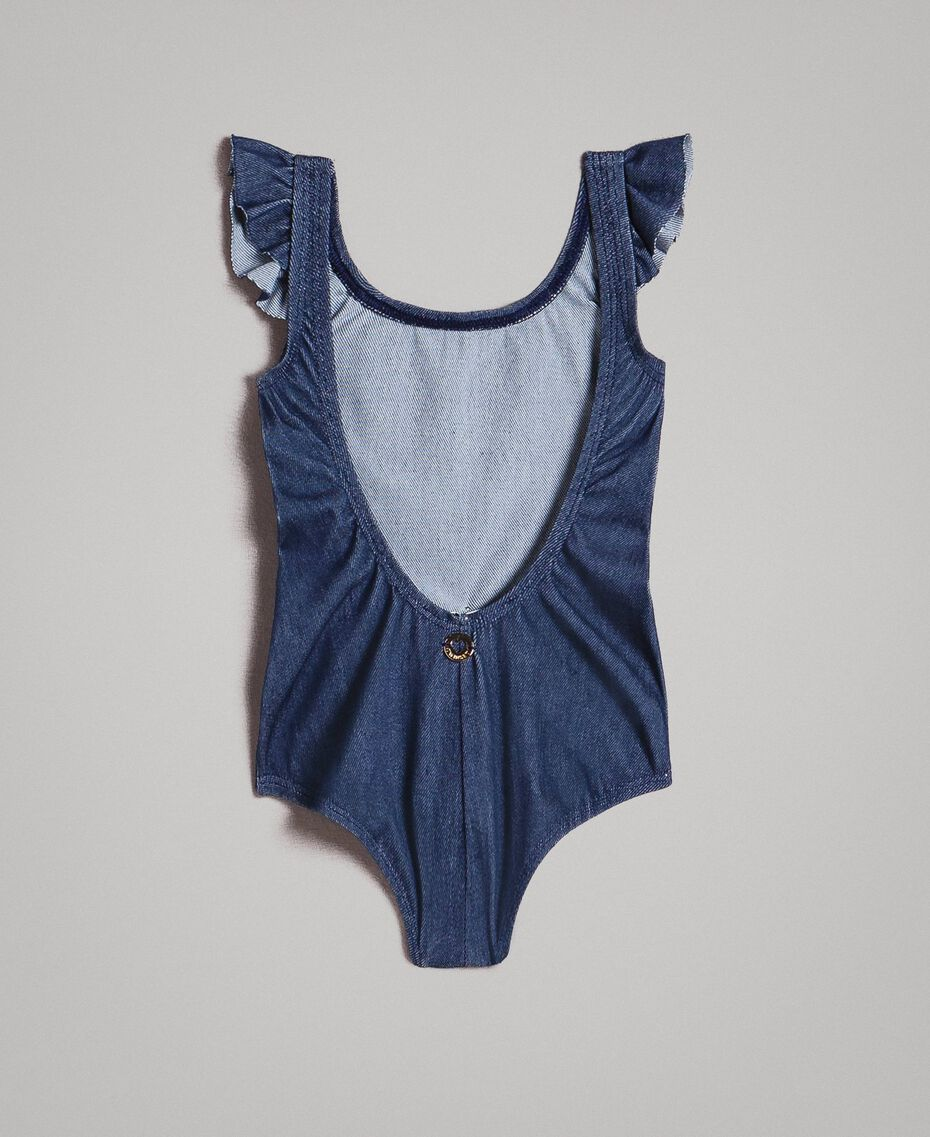 One-piece swimsuit with rhinestone butterfly Dark Denim Child 191GBM901-0S