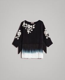 Floral embroidery and fringe blouse Black Woman 191TT2130-0S