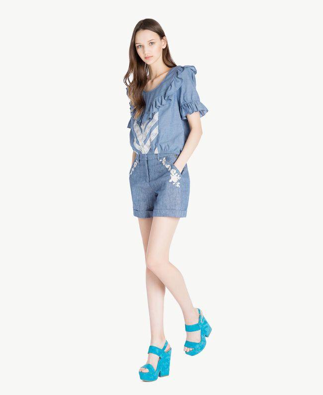 TWINSET Sandales daim Bleu «Gentiane» Femme CS8TCC-05