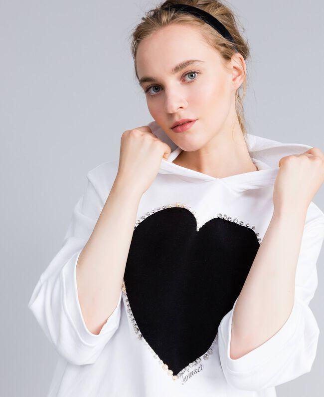 Kleid aus Baumwolle mit Flockherz Weiß Frau PA82CG-04
