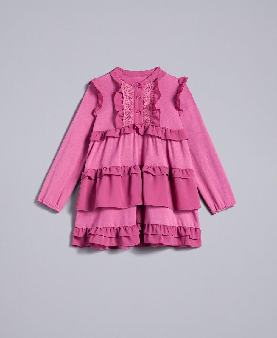 Robe volantée en crêpe georgette Rose Bouganville Enfant FA82H1-01