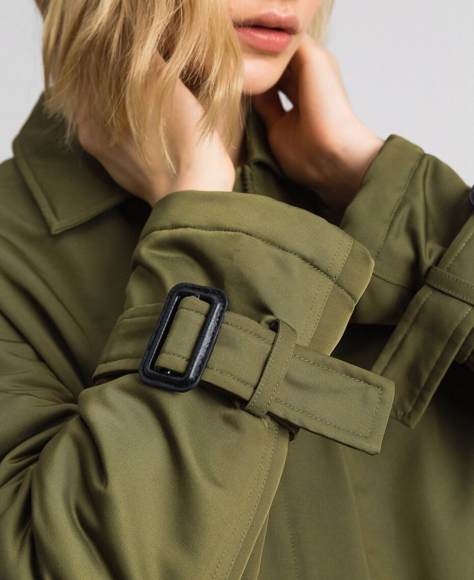 Manteau en satin technique avec col animalier Vert Vetiver Femme 192MP2121-06