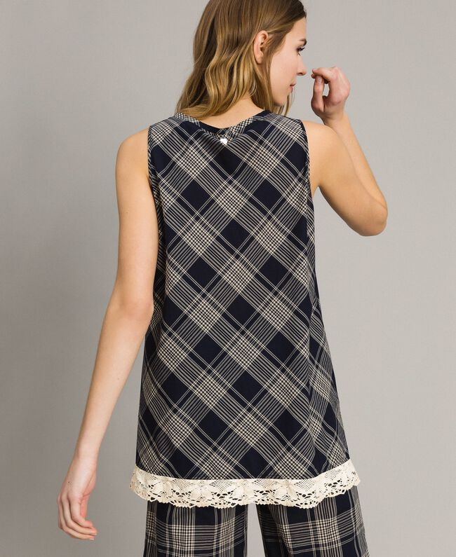 Check top with lace Blue Shadow Check Jacquard Woman 191ST2130-03