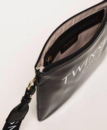 Patent leather effect faux leather pochette Black Woman 201TA717A-04