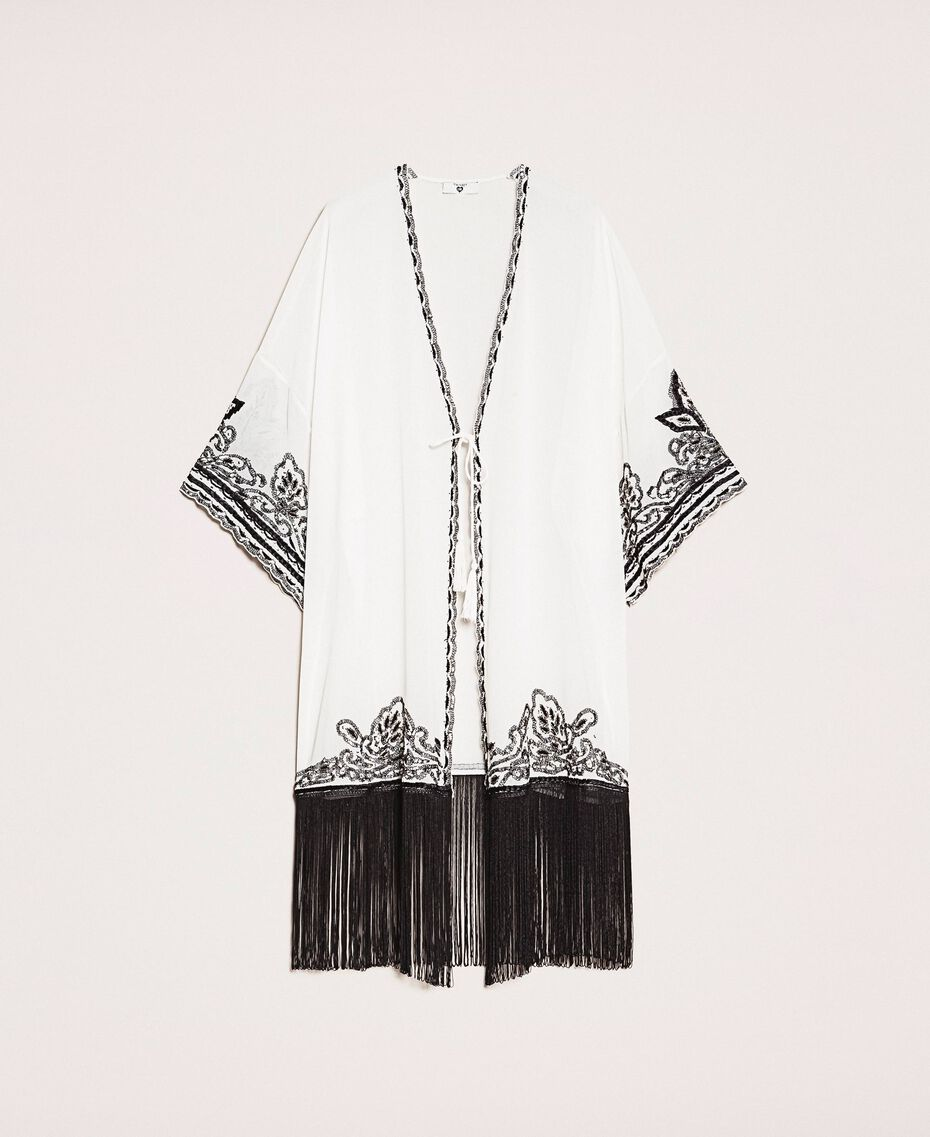 Georgette dress with embroideries and fringes Ivory Woman 201LB25AA-0S