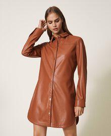 Платье-рубашка из искусственной кожи Красный Терракота женщина 202LI2GEE-01