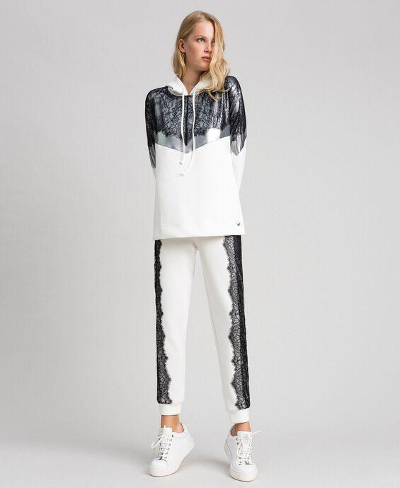 Scuba sweatshirt with lace