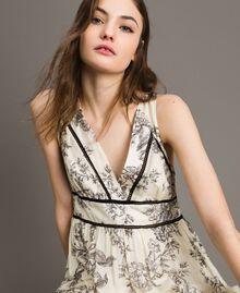 Robe longue en soie mélangée avec imprimé floral Imprimé Toile De Jouy Noir Femme 191TT2402-01