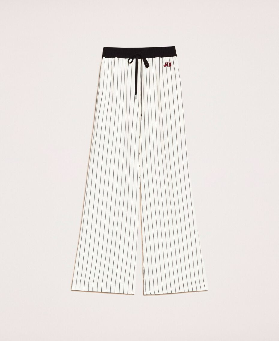 Pantalon en crêpe de Chine rayé Rayé Vanille / Noir Femme 201MP2101-0S