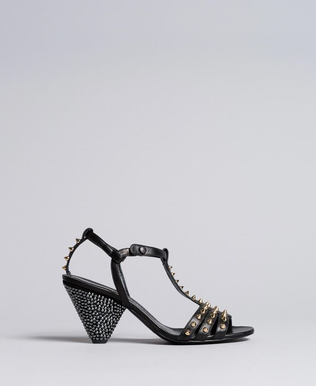 Sandalette aus Leder mit Nieten Schwarz Frau CA8TLA-01