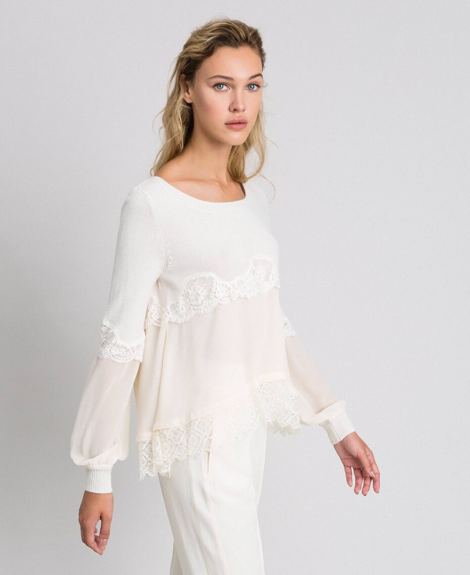 Jumper with georgette and lace White Snow Woman 192TT3082-02