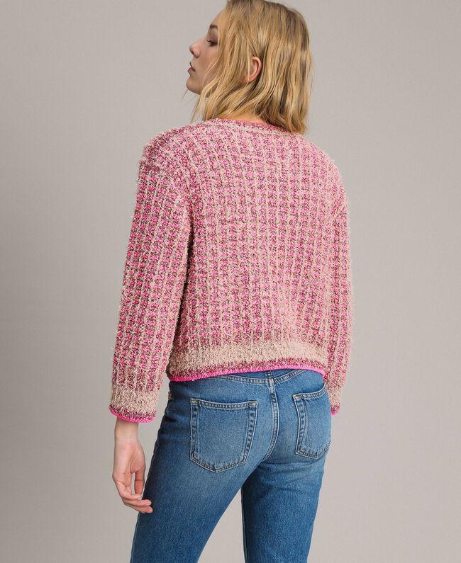 Gilet en fil lurex Bicolore Rose Perle Vrillé Femme 191TP3320-03