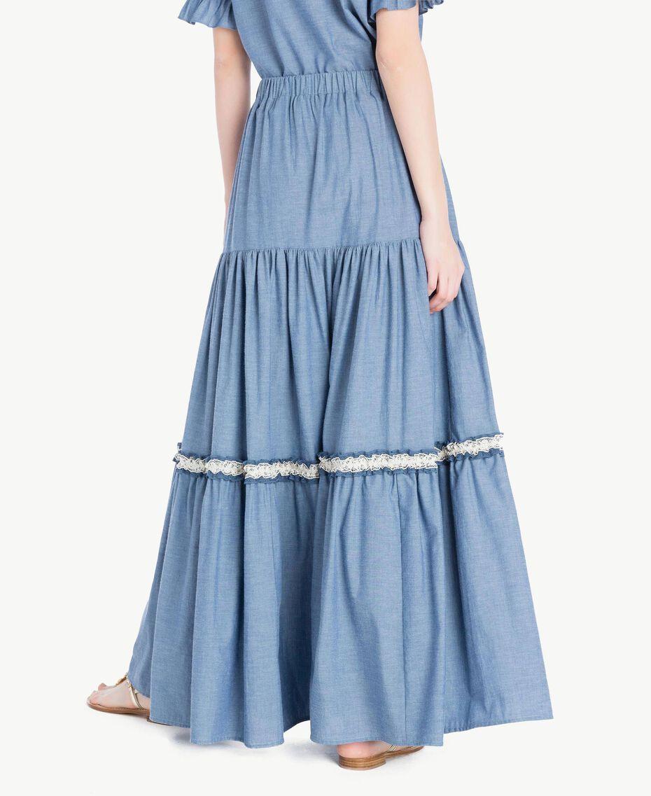 Long lace skirt Light Blue Denim Woman TS82YK-03