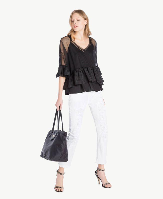 Bluse aus Tüll Schwarz Frau YS82GP-05