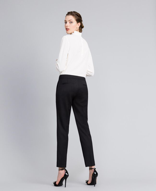 Cool wool drainpipe trousers Black Woman PA823P-03