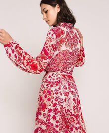 Blouse en crêpe georgette imprimé paisley Imprimé Paisley Rouge «Lave» / Rose«Boutons de Fleurs» Femme 201TP2531-03