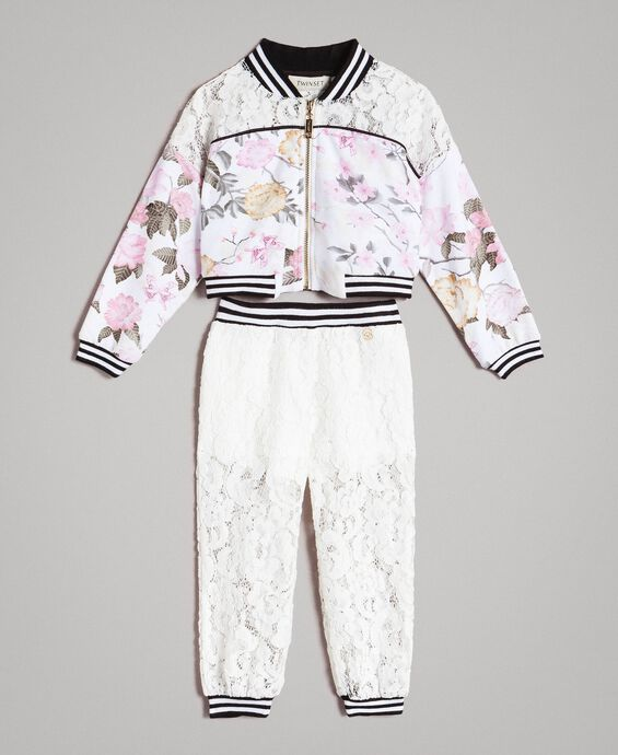 Floral fleece and lace tracksuit