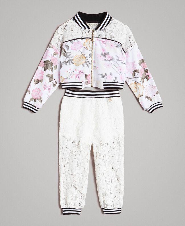 Fleece-Kleid mit Blumenmuster und Spitzen-Jogginghose Motiv Ramage Schmetterling Kind 191GB2131-01