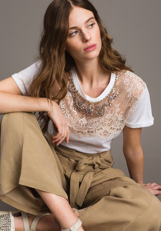 Lace and rhinestones T-shirt