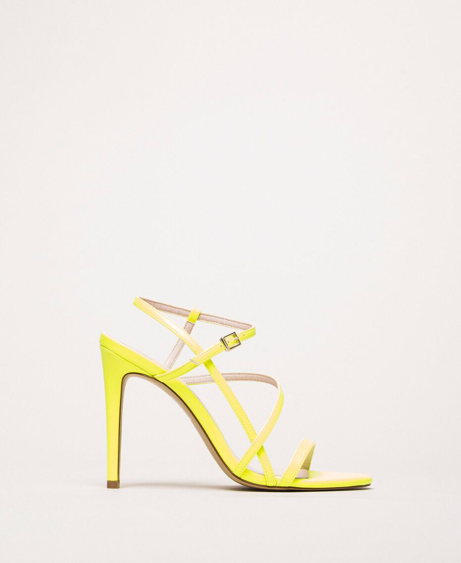 Fluorescent faux leather high heel sandals Fluorescent Yellow Woman 201MCT020-02
