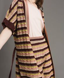 "Cardigan with multicolour lurex stripes Multicolour ""Bronze Powder"" Brown Woman 191LB3ADD-04"