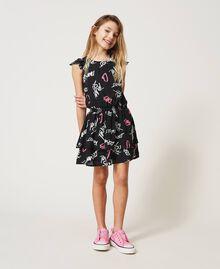 Kleid mit Allover-Logoprint Graffiti-Print Schwarz Kind 211GJ2127-01