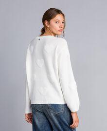 Pull en laine mélangée avec incrustation de cœurs Nacre Femme JA83E1-03