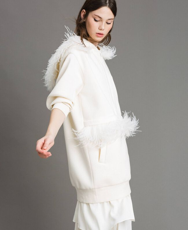 """Long scuba bomber with feathers """"Silk"""" White Woman 191TP2068-04"""