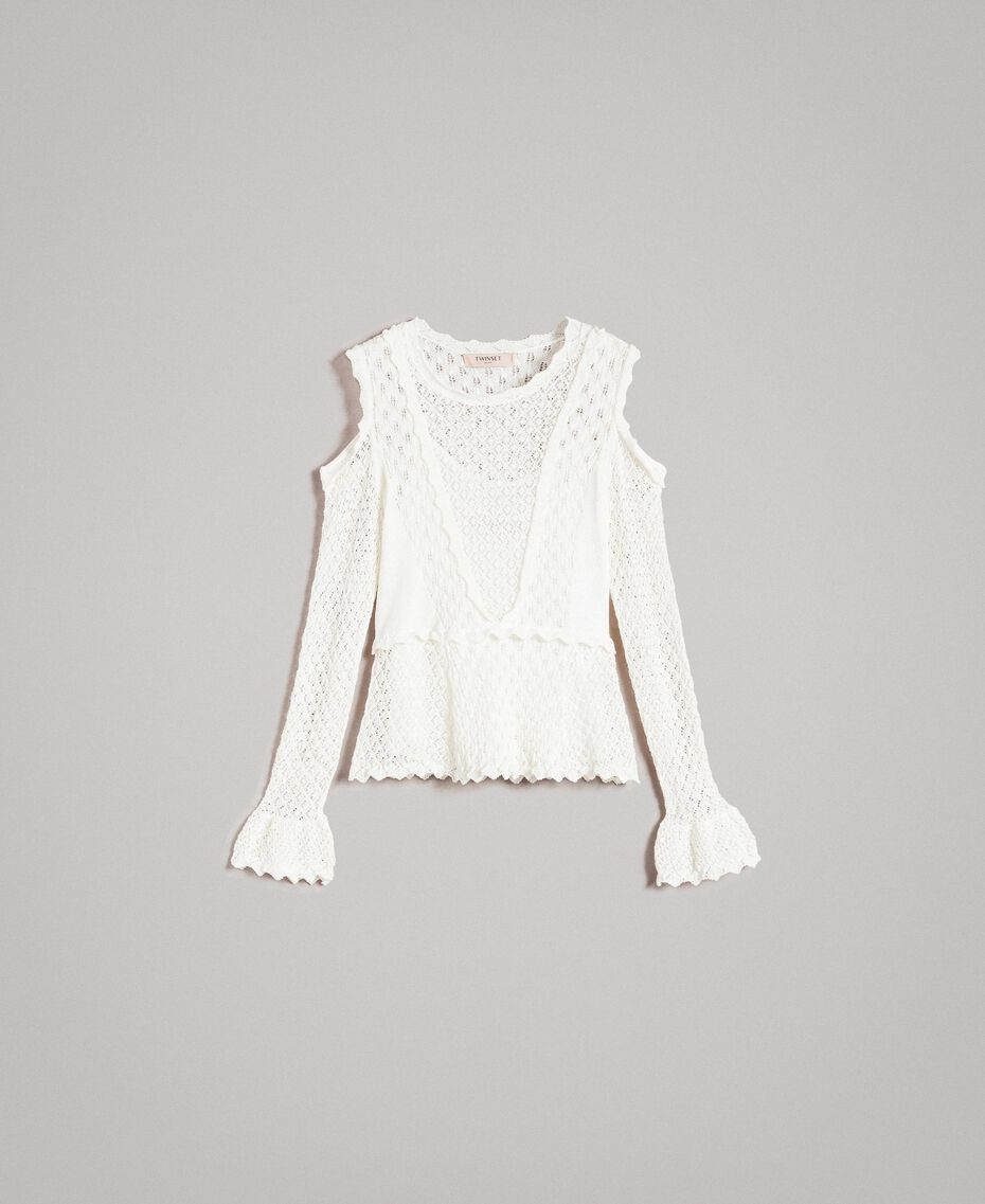 Lace stitch jumper White Snow Woman 191TP3072-0S