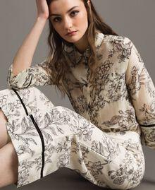 Floral print linen trousers Toile De Jouy Black Print Woman 191TT2461-04