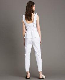 Leggings en popeline Crème White Femme 191MP2214-03