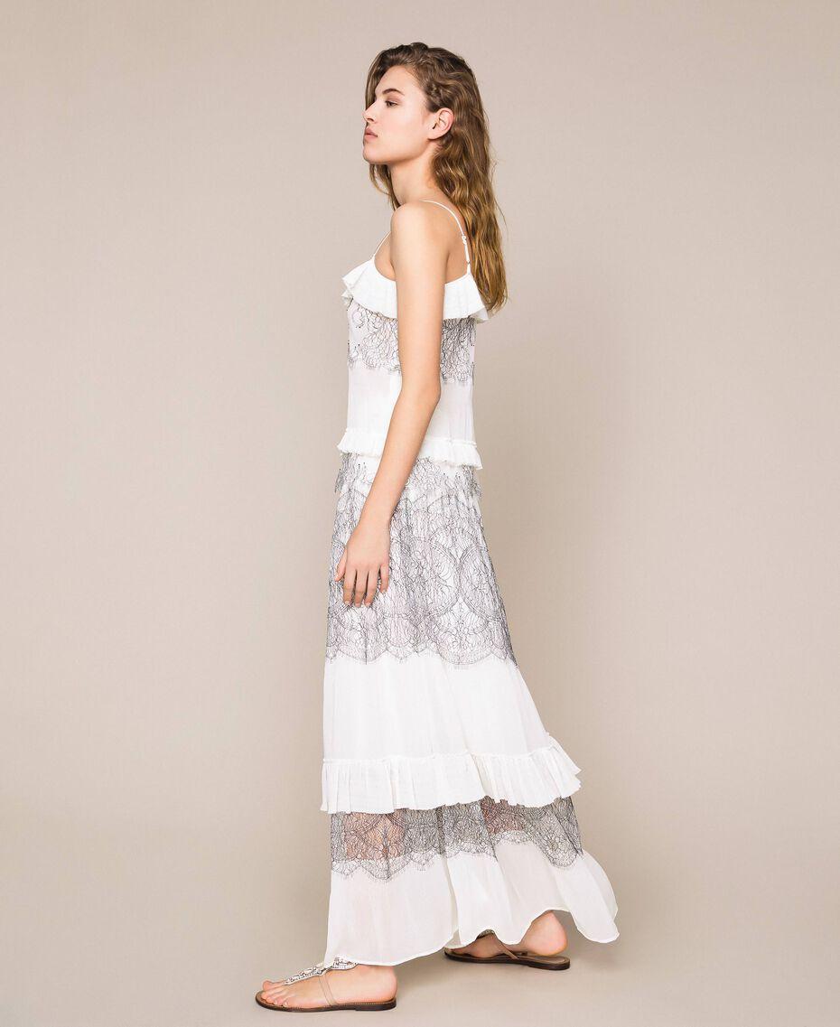 Jupe longue plissée avec dentelle bicolore Blanc Neige Femme 201TT2144-02