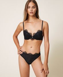 Lace and tulle G-string Black Woman 202LI6188-01