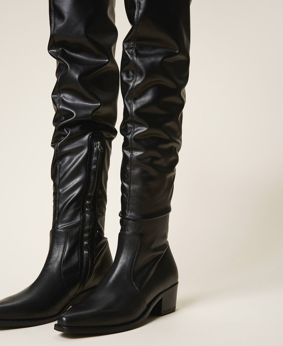 Thigh-high boots with stretch leg Black Woman 202TCP170-02