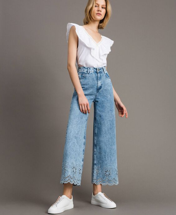 Wide leg jeans with broderie anglaise
