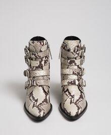 Cowboystiefelette aus Leder mit Animal-Dessin Felsenpythonprint Frau 192TCT06E-05