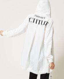 Maxi sweat-shirt avec insertions en taffetas Blanc Vanille Femme 211MT2060-06