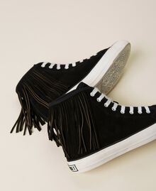 Leather trainers with fringes Black Woman 212TCP100-04