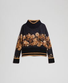 Printed mohair jumper Black Baroque Flower Stripes Mix Print Woman 192TT3332-0S
