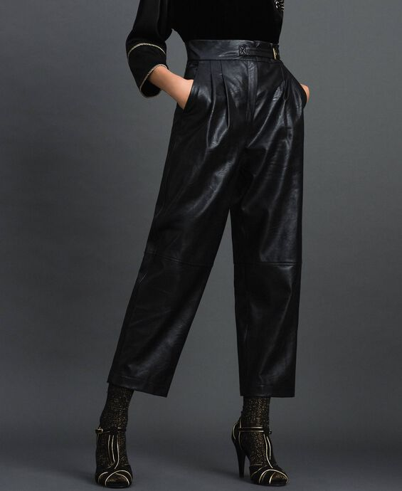 Wide fit faux leather trousers